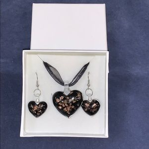 Jewelry - Rose Gold Murano-style Glass Necklace Set